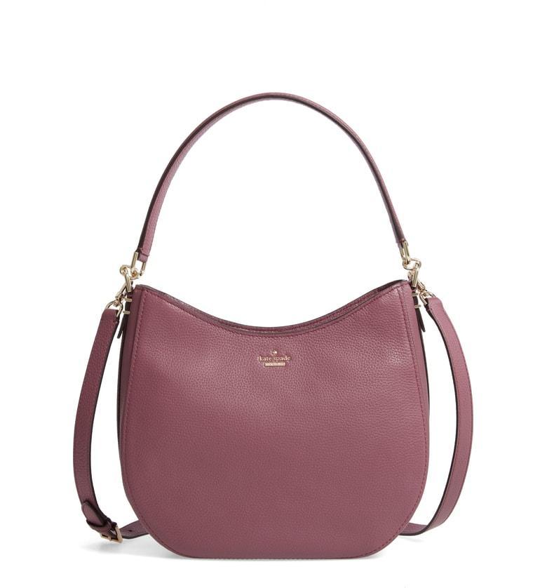 f9310fb5db4a Kate Spade Oakwood Street - Lora Pebbled Leather Hobo - Purple In Plum Berry