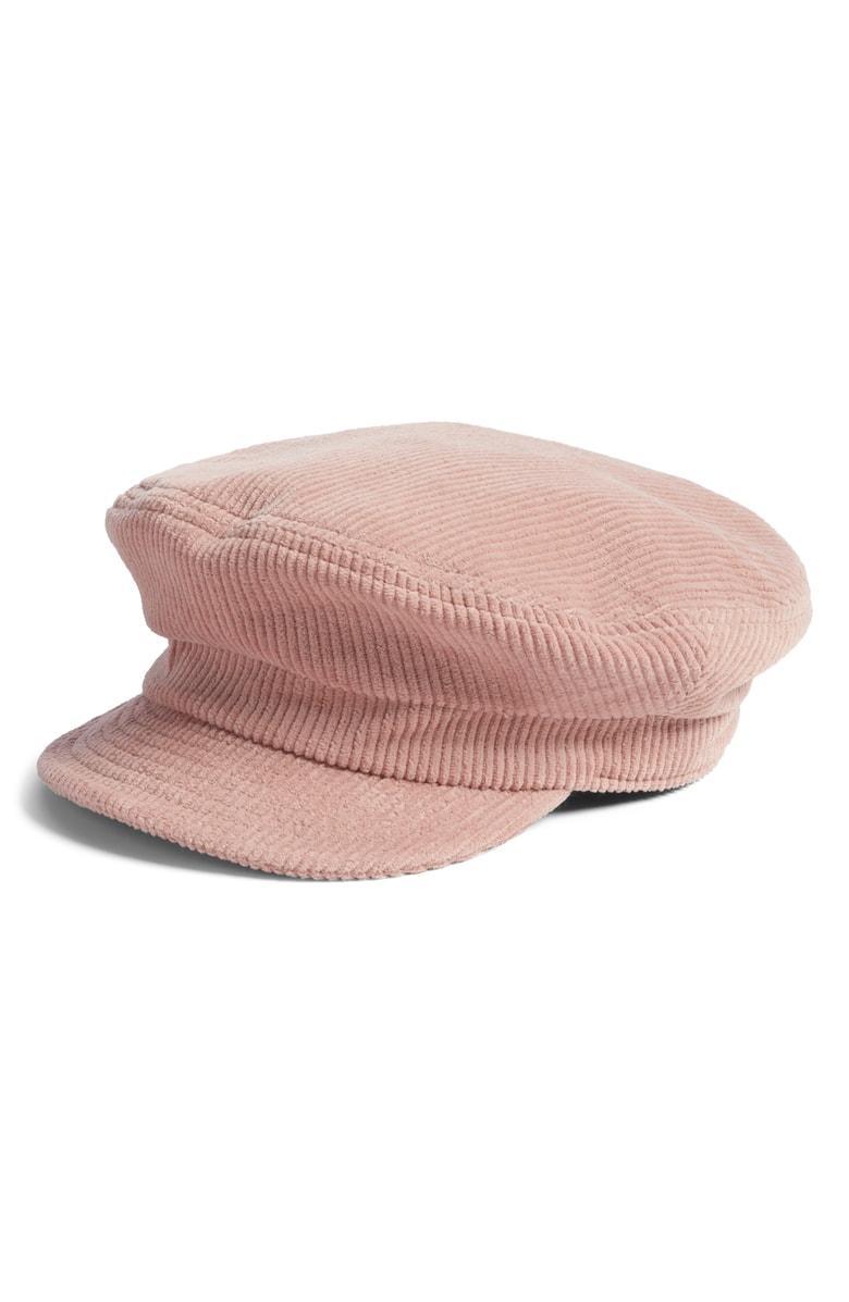 709b5c6a211a2 Brixton Fiddler Corduroy Baker Boy Cap - Pink In Rose