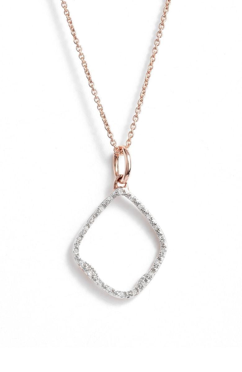 e88d47e4bcea02 Monica Vinader Riva Hoop Diamond Pave Pendant Necklace In Rose Gold ...