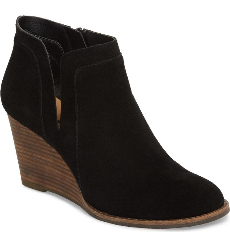 636a2416b5a7 Lucky Brand Yabba Wedge Bootie In Black Suede