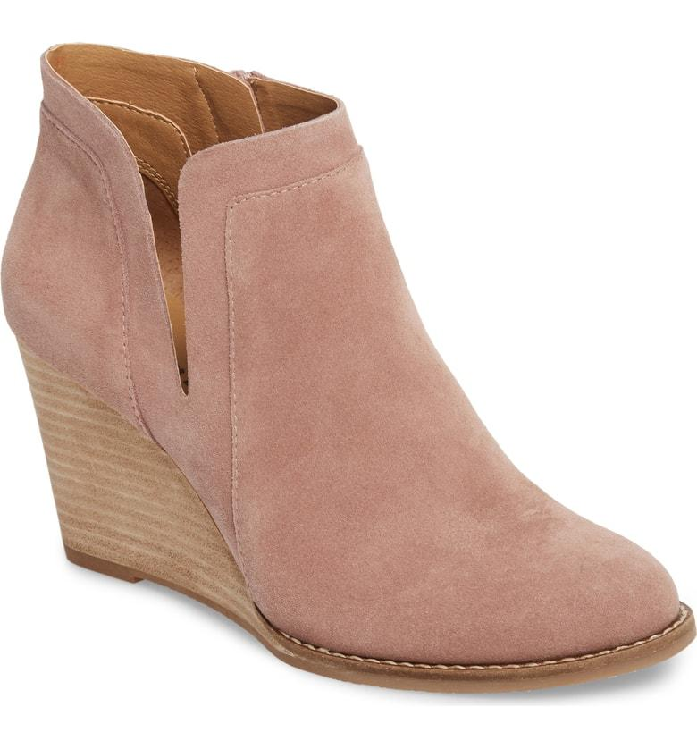 2982d6233aee Lucky Brand Yabba Wedge Bootie In Blush Suede
