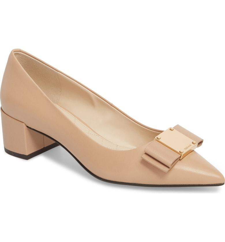 b15a547d9 Cole Haan Tali Modern Waterproof Bow Pump In Nude Leather | ModeSens