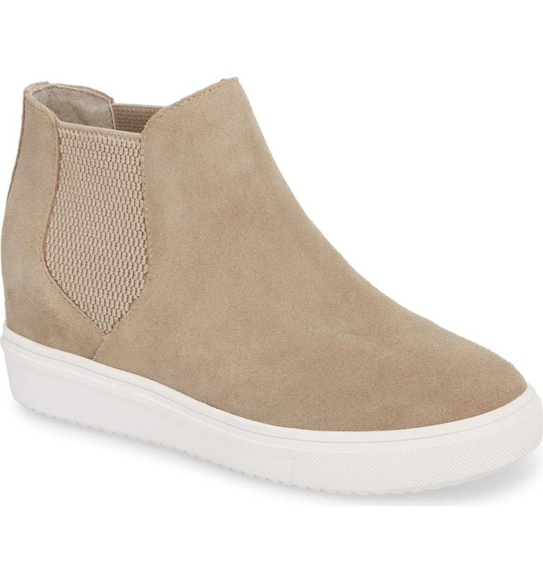 5abd46cce158 Steve Madden Sultan Chelsea Wedge Sneaker In Taupe Suede