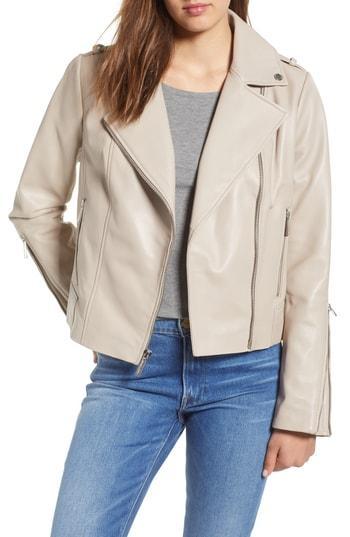 5ec882d2522d Michael Michael Kors Classic Leather Moto Jacket In Taupe | ModeSens