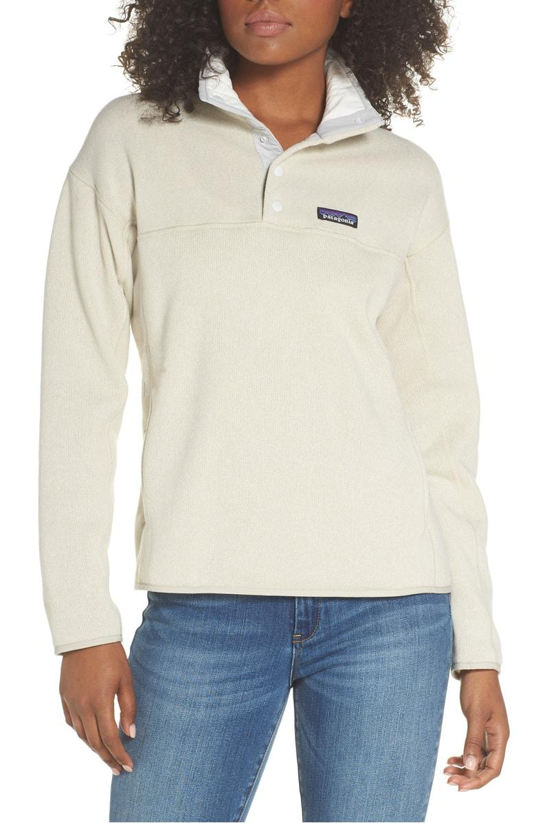 Patagonia Lightweight Better Sweater Marsupial Fleece Pullover In Bleached Stone
