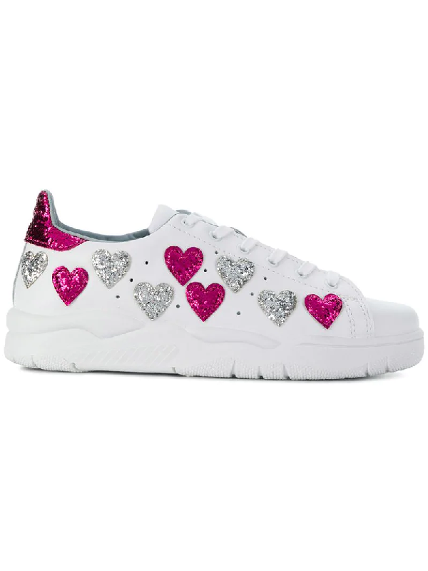 41614b471154 Chiara Ferragni Women's Leather & Glitter Hearts Low Top Lace Up ...