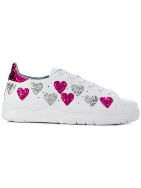 Chiara Ferragni Women's Leather & Glitter Hearts Low Top Lace Up Sneakers In White Silver Fuxia