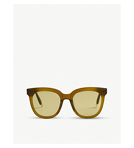 Gentle Monster Ladies Khaki And Olive Green Modern Scarlet Acetate Sunglasses In Khaki/Olive