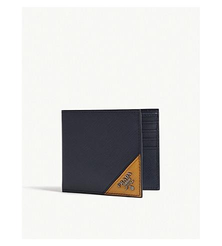39b71b803a1f Prada Saffiano Leather Billfold Wallet In Baltic Blue Yellow   ModeSens