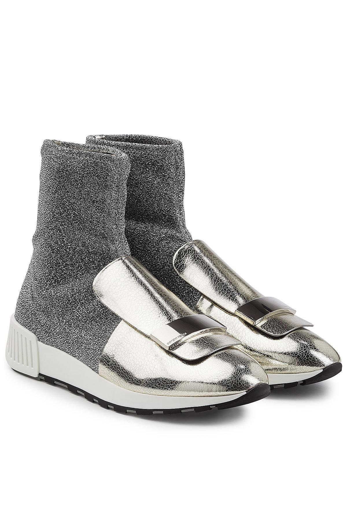 Sergio Rossi Leather And Lurex Effect Leather Sneakers Color Silver
