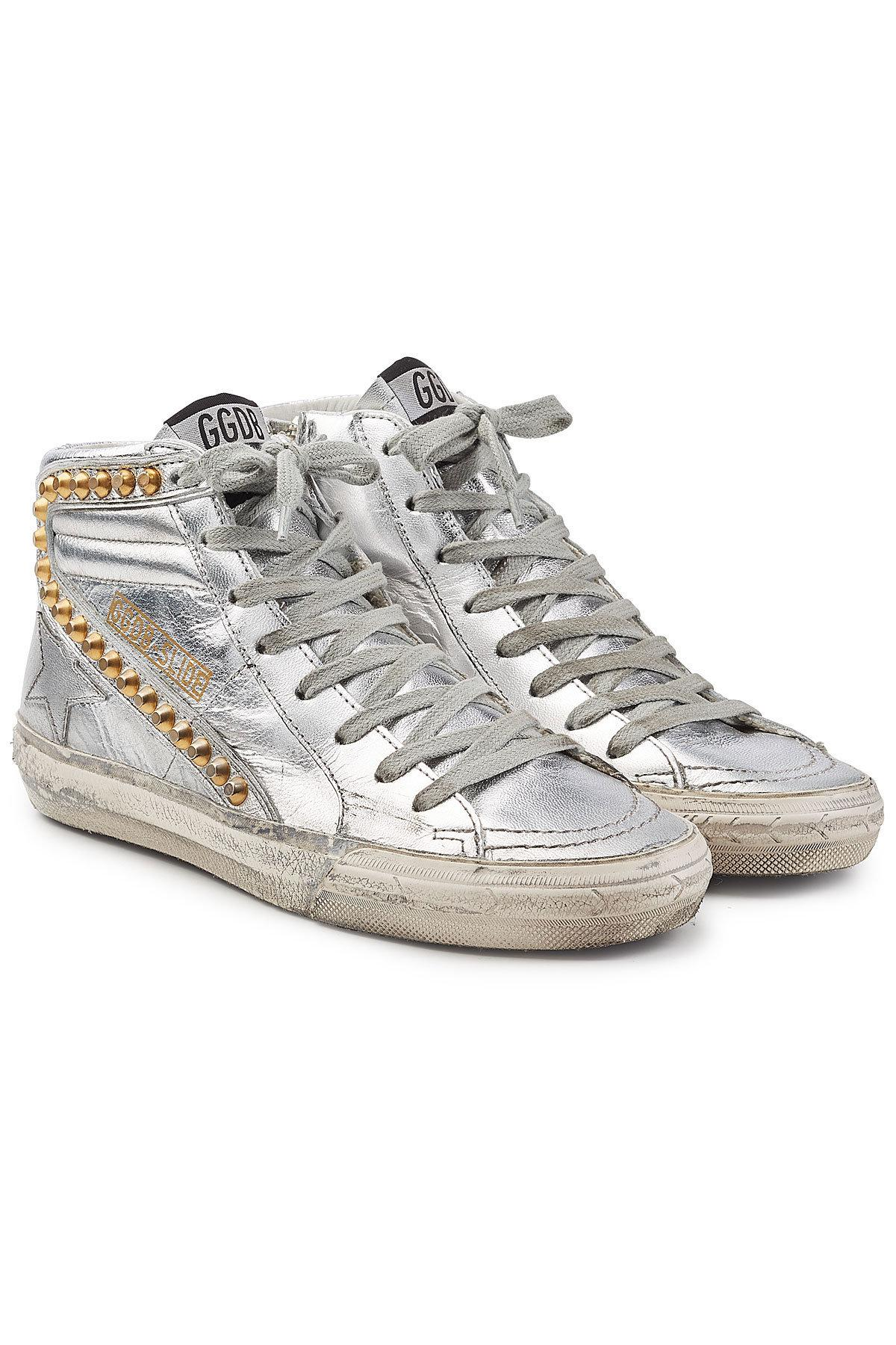 save off discount shop exquisite style Slide Metallic Leather Sneakers With Studs In Silver