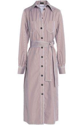 Joseph Woman Belted Striped Cotton-Poplin Shirt Dress Chocolate
