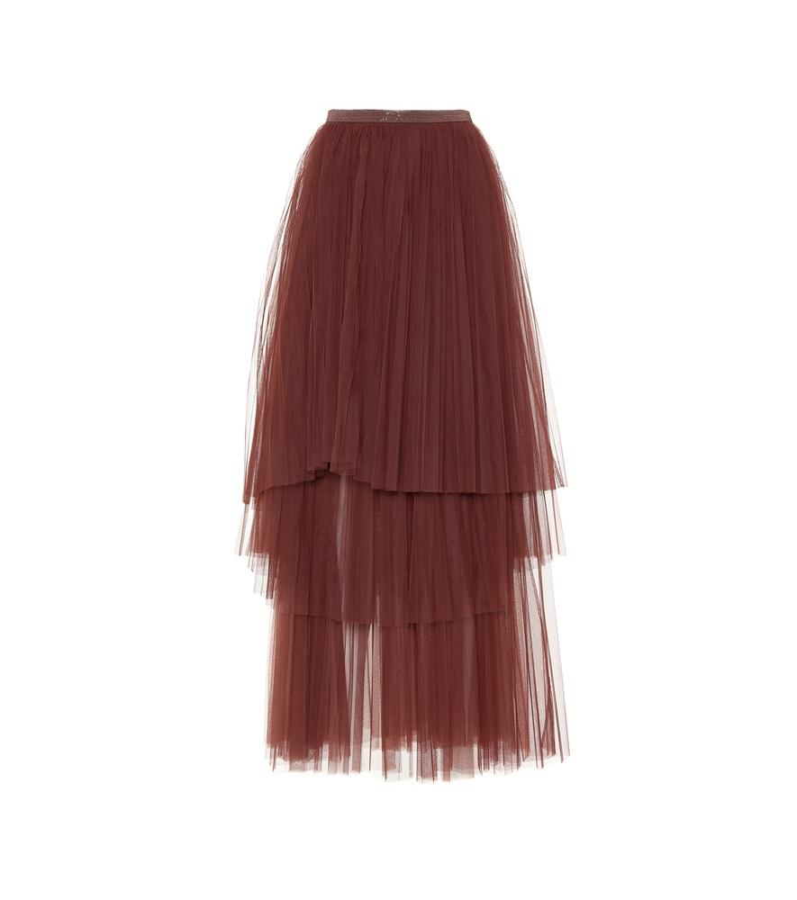 3733f1f98 Brunello Cucinelli Bead-Embellished Tulle Maxi Skirt In Red | ModeSens