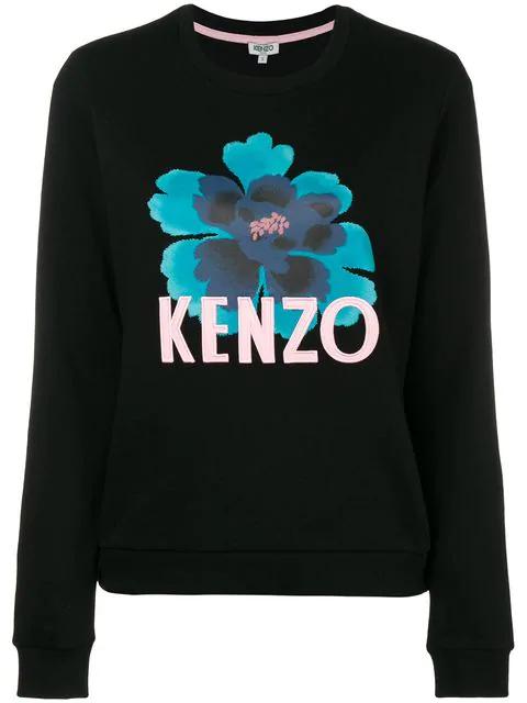 Kenzo Printed Cotton Sweatshirt In Black