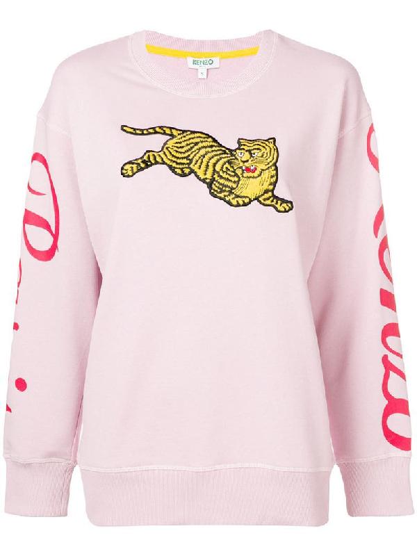 53b6baf5 Kenzo Tiger-Embroidered Cotton-Jersey Sweatshirt In Pink | ModeSens
