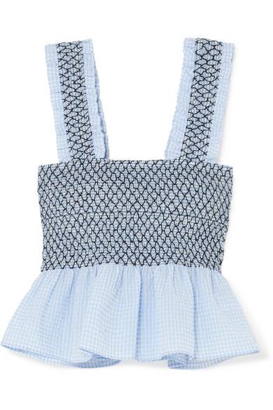1159443639d Ganni Shirred Gingham Cotton-Blend Seersucker Top In Sky Blue | ModeSens