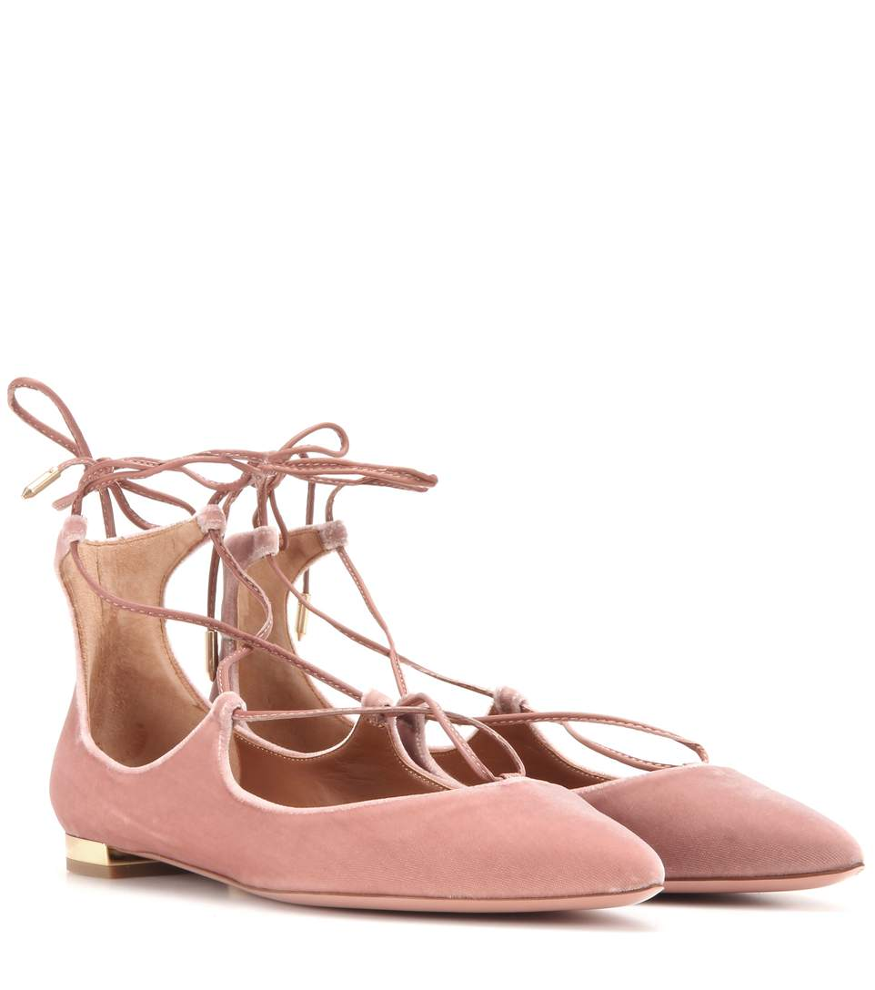 Aquazzura 10Mm Christy Lace-Up Suede Flats In Cipria