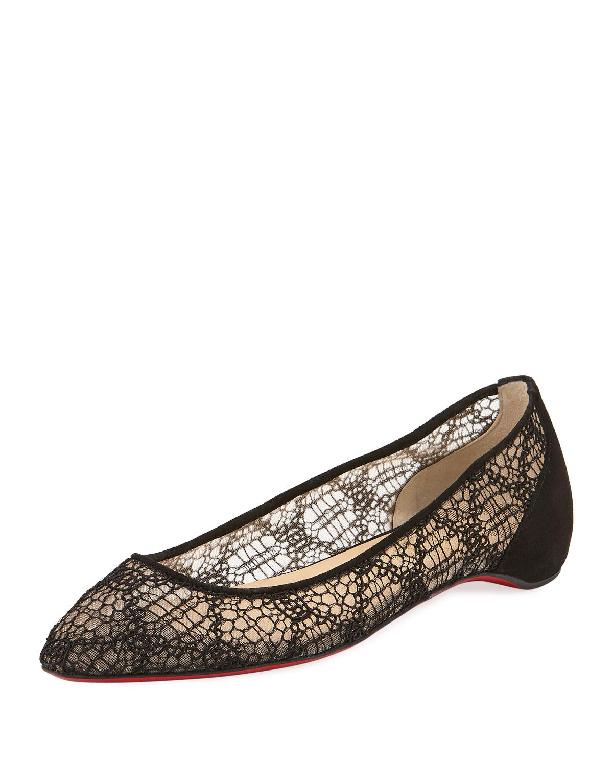 7816e6f520a4 Christian Louboutin Eloise Lace Red Sole Ballet Flats In Black ...