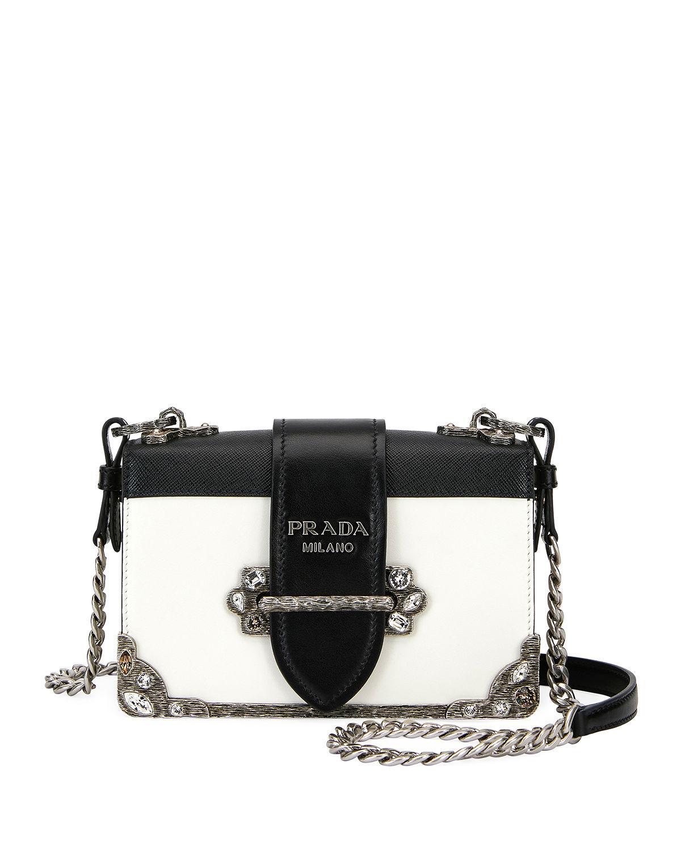662071fab587 Prada Embroidered Small Cahier Crossbody Bag In White/Black   ModeSens