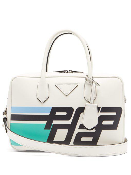 5be588731972 Prada Logo-Print Leather Shoulder Bag In White Multi | ModeSens