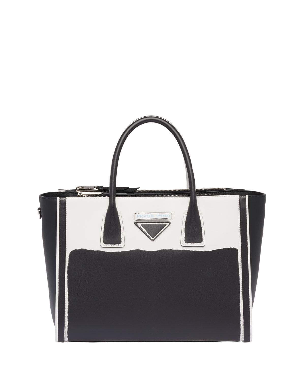 55003675651c Prada Grace Lux Colorblock Leather Tote In Black White