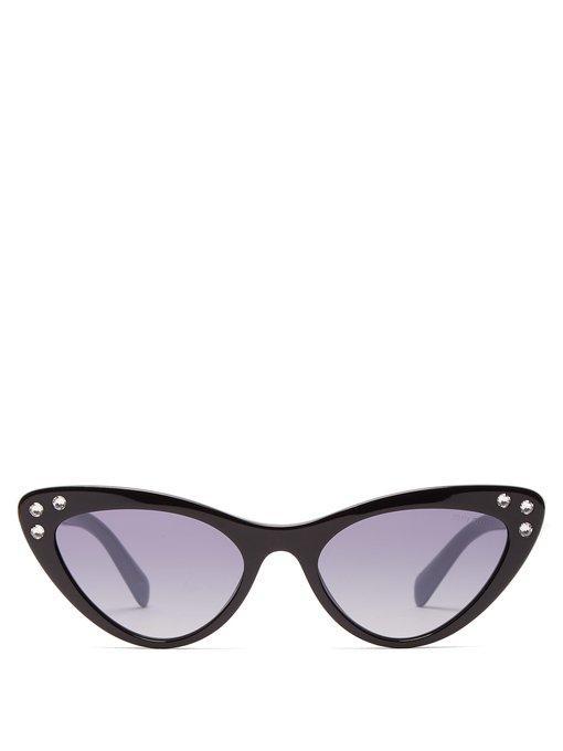 ab3f7e8e4475 Miu Miu Crystal-Embellished Acetate Cat-Eye Sunglasses In Black ...