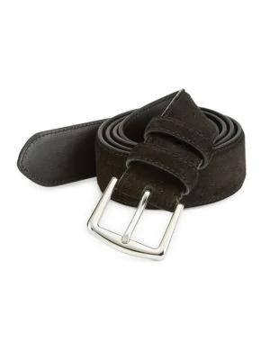 Loro Piana Basic Suede Belt In Black