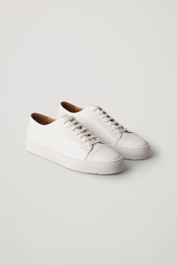 Cos Thick-soled Leather Sneakers In White