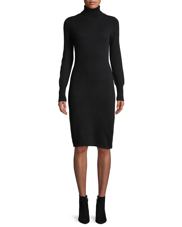 Plus Size Cashmere Turtleneck Sweater Dress in Black