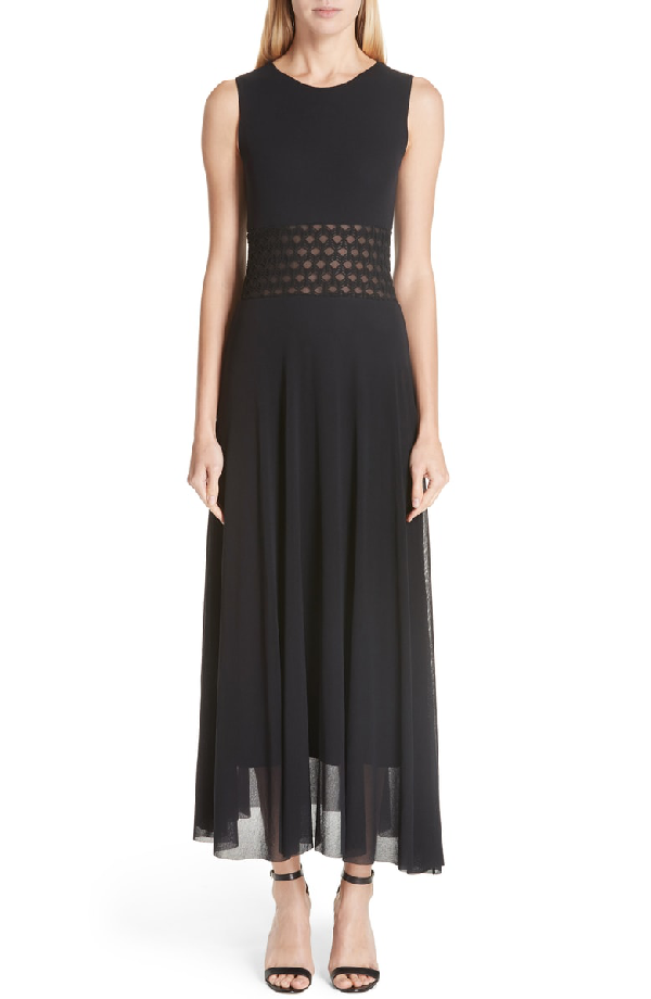 Fuzzi Sleeveless Pattern-Waist Tulle Maxi Dress In Nero