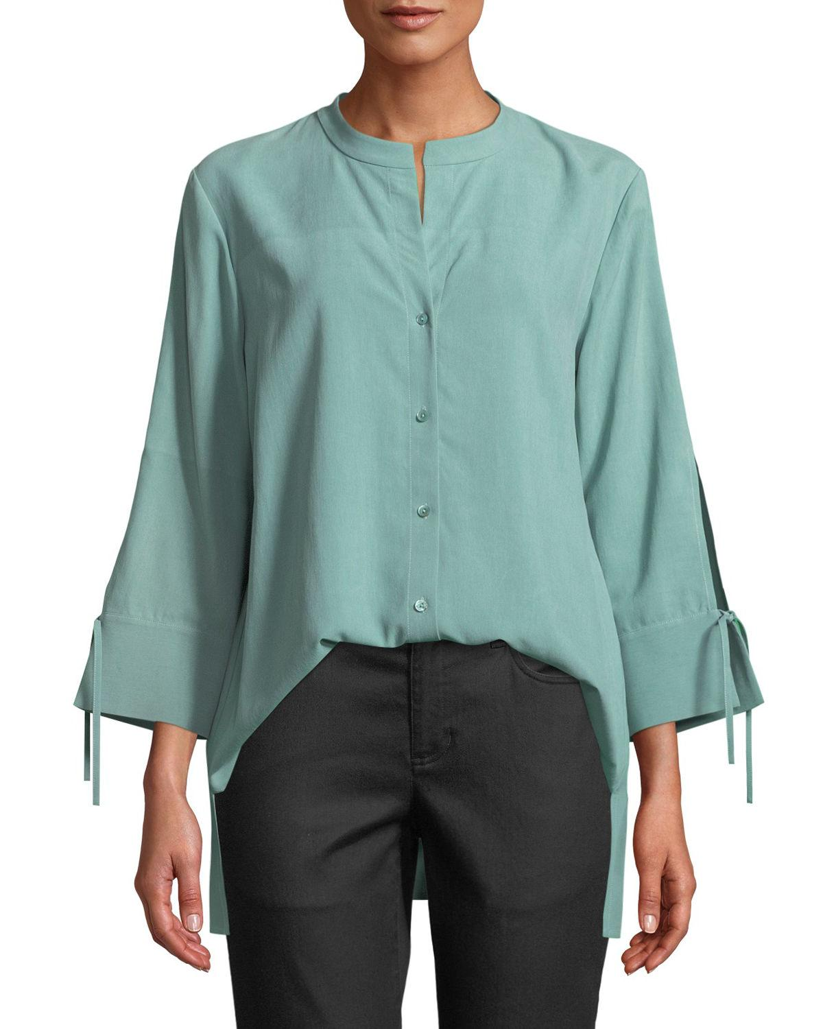 0c7086afe0dcea Eileen Fisher Plus Size Fuji Silk 3/4-Sleeve Blouse In Elm | ModeSens