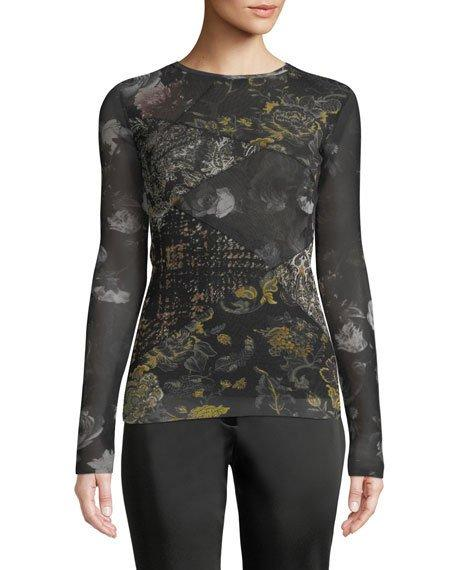 Fuzzi Patchwork-Print Tulle Long-Sleeve Top In Black