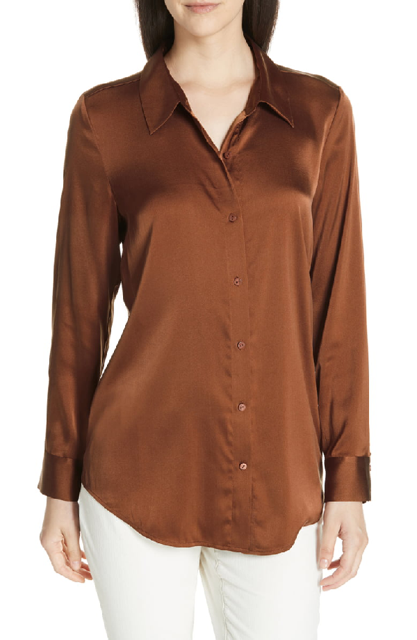 0bb8f8d7 Eileen Fisher Long-Sleeve Silk Charmeuse Button-Front Shirt, Plus Size In  Nutmeg