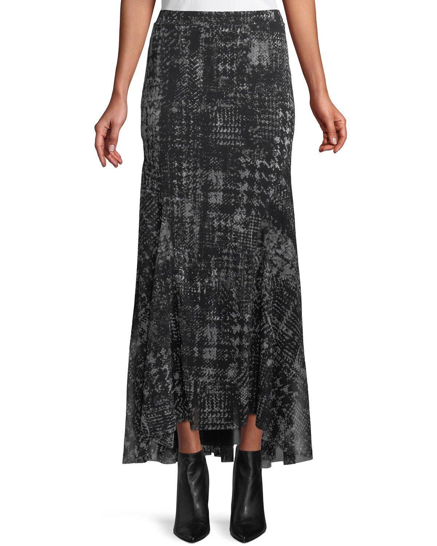 Fuzzi Full Plaid-Print Tulle Maxi Skirt In Black