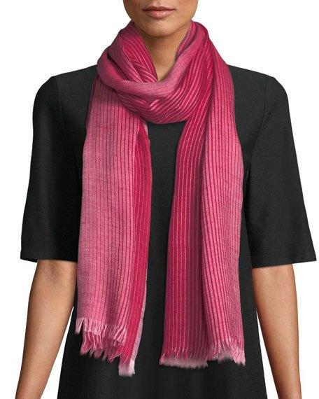 Eileen Fisher Ombre Stripe Alpaca/Silk Scarf In Radish