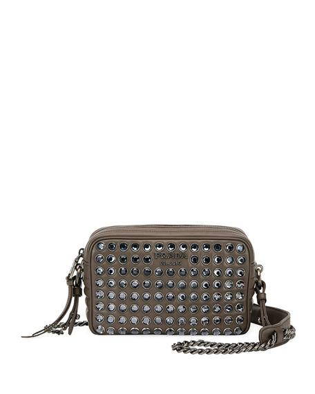 fc81fd188 Prada Diagramme Studded Camera Bag In Light Green | ModeSens