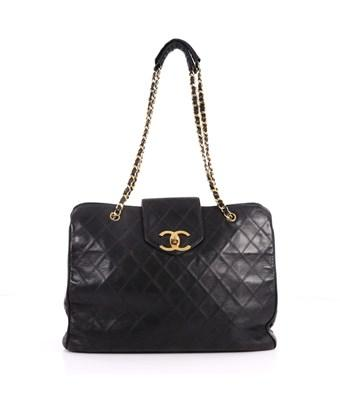 Pre Owned Vintage Supermodel Weekender Bag Quilted Leather Large In Black