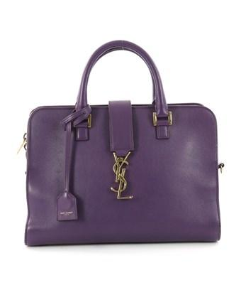 Saint Laurent Pre-Owned: Monogram Cabas Leather Small In Purple