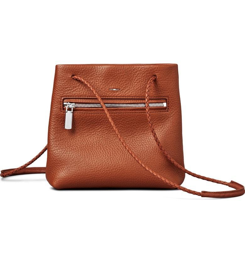0cebcab60 Shinola Mini Pebbled Leather Drawstring Crossbody Bag - Brown In Bourbon