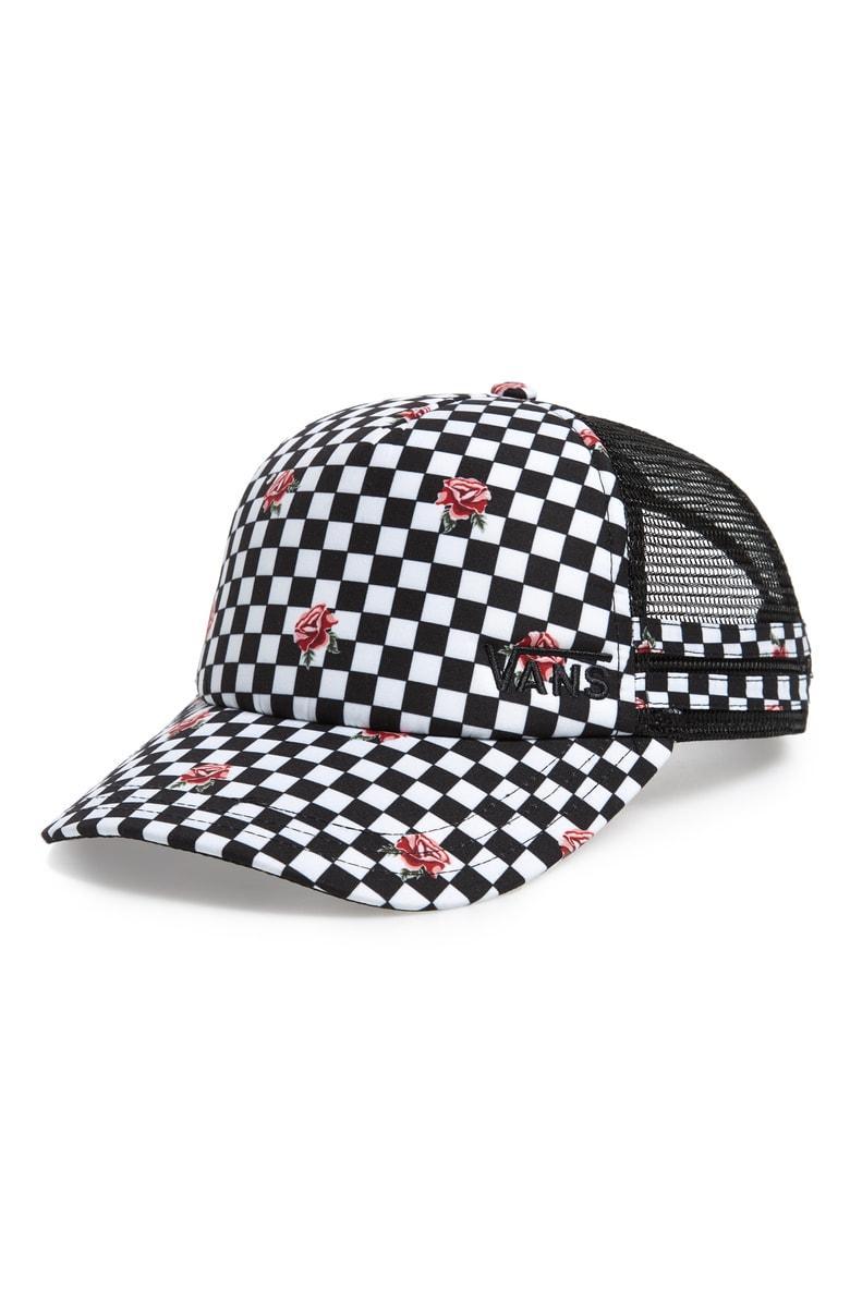 e61865cdf0e Vans Ol Sport Trucker Hat - Black In Rose Checkerboard