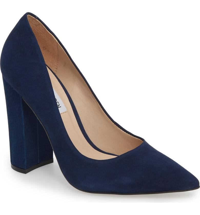 21884bc4635b A pointed toe lengthens the look of your leg in a supple nubuck leather pump  lifted by a half-moon block heel. Style Name  Steve Madden Prance Pump  (Women).