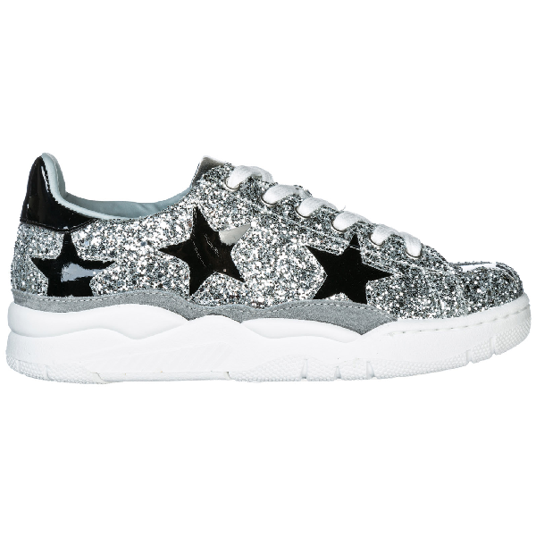 Chiara Ferragni Roger Silver Glitter And Black Stars Sneaker In Metallic