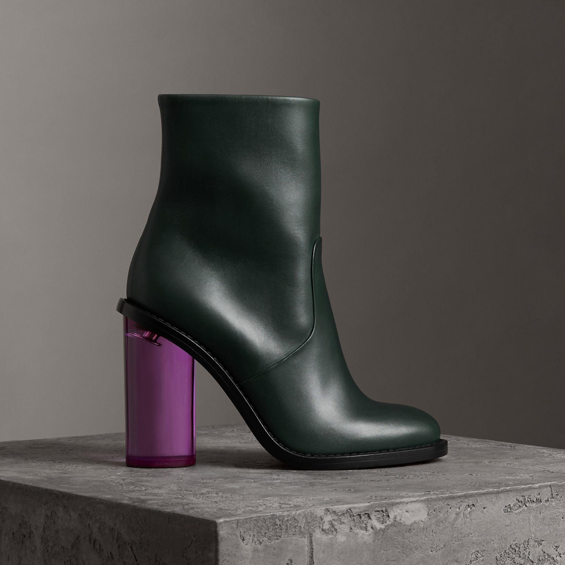 070ae71b5405 Burberry Two-Tone Leather High Block-Heel Boots In Dark Forest Green ...