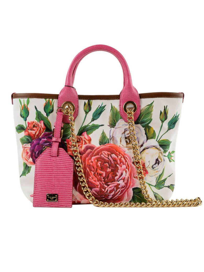 8bc4c6ff3a4 Dolce & Gabbana Canvas Printed Shopper Bag In Harpeonie Fdo Panna ...