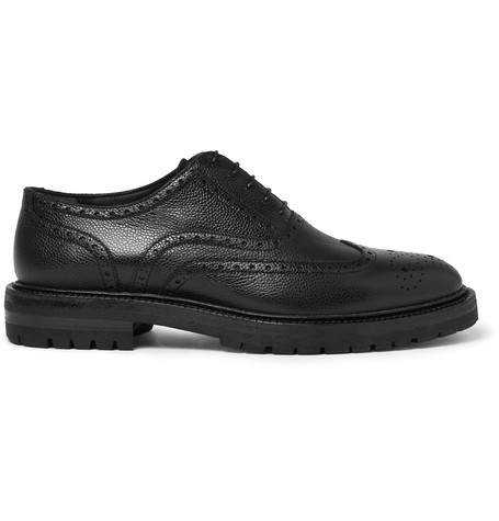 3c7c14b73a3f Burberry Leather Wingtip Brogues With Rubber Sole In Black