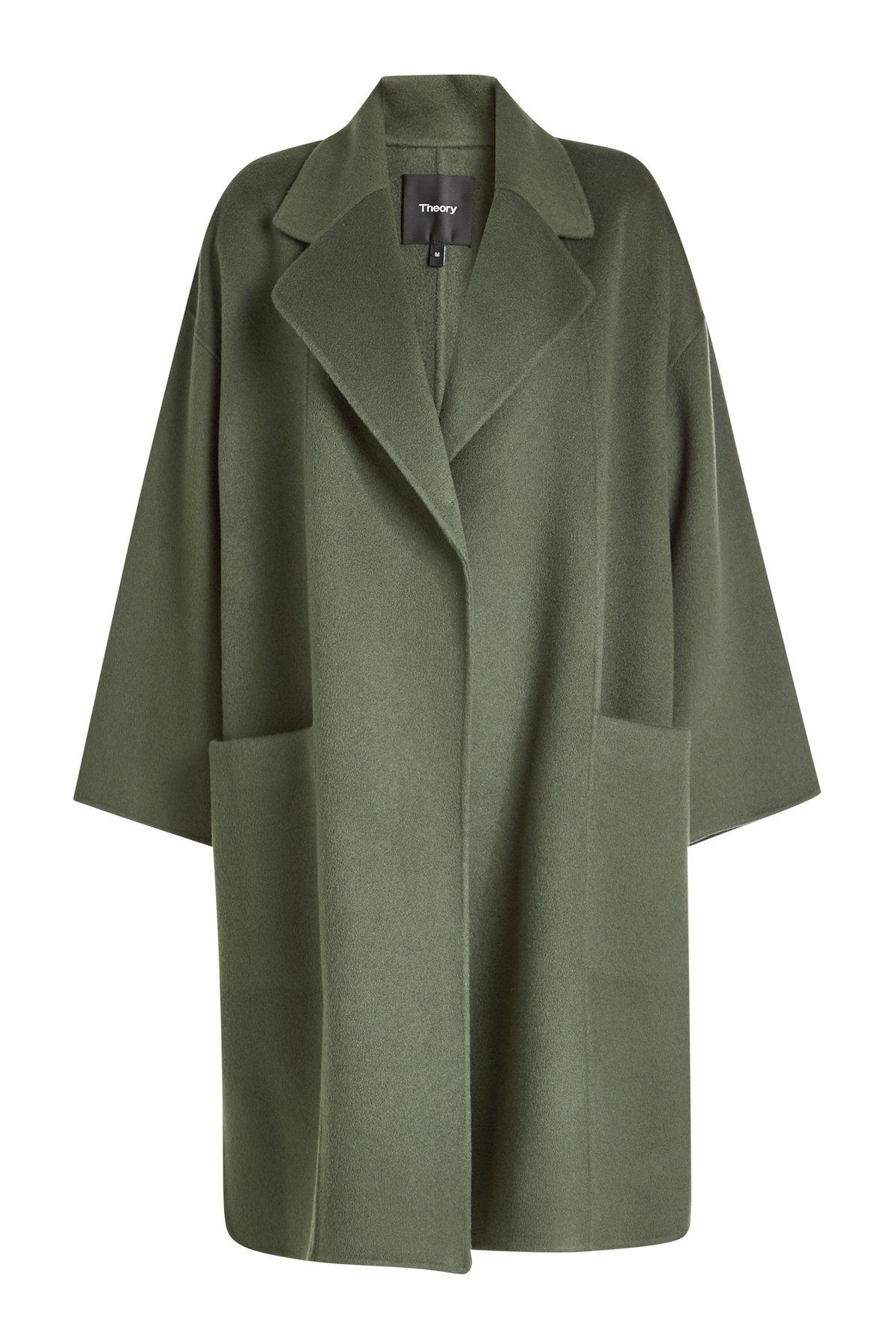 Theory Kimono Wool Coat With Cashmere In Green