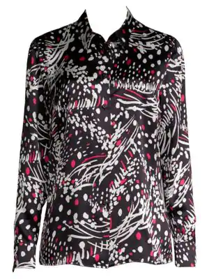 16159d198bf9d3 Escada Button-Front Long-Sleeve Feather-Print Silk Blouse In Black Pattern