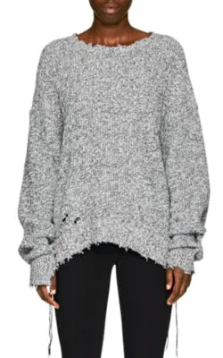 Helmut Lang Distressed Cotton-Blend Crewneck Sweater In Gray