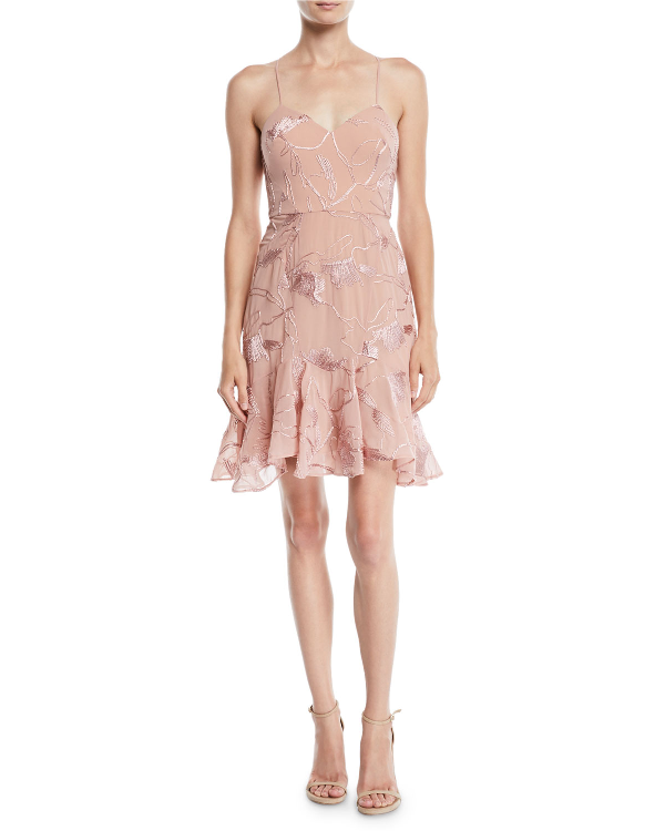 Halston Heritage Sleeveless Embroidered Soutache Dress In Pink