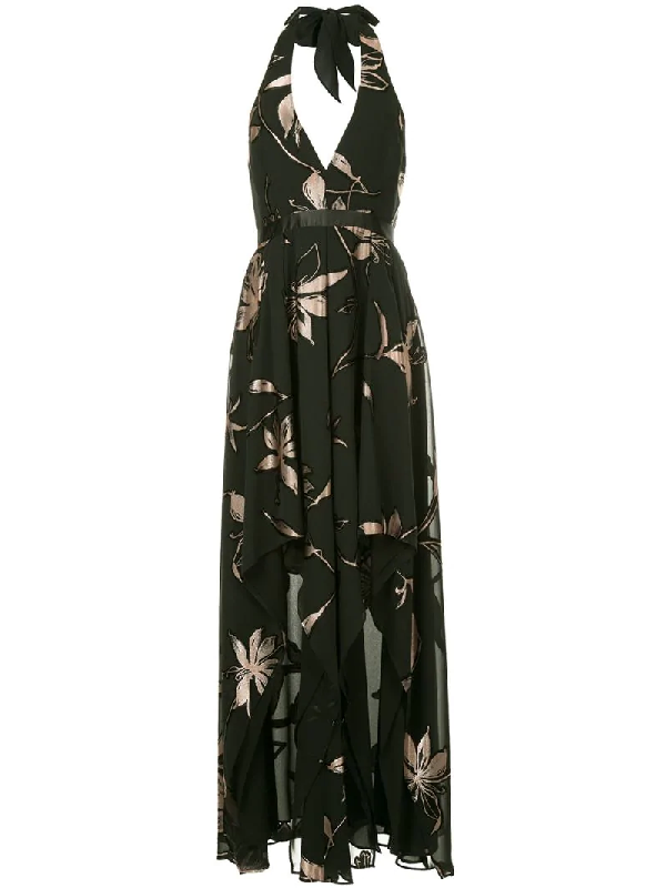 Halston Heritage Floral Burnout Gown W/ Double-slit Front In Black